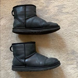 Ugg black leather classic mini shearling boots